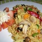 Velouté de cogumelos com arroz integral