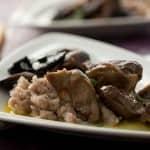 Moelas com cogumelos e castanhas cozidas