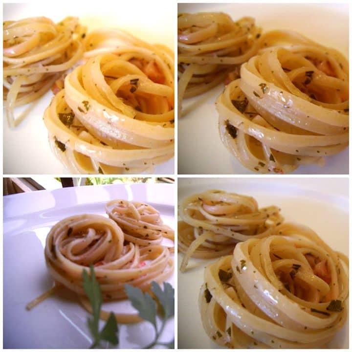 Linguine ao Pesto de Morango e Castanha