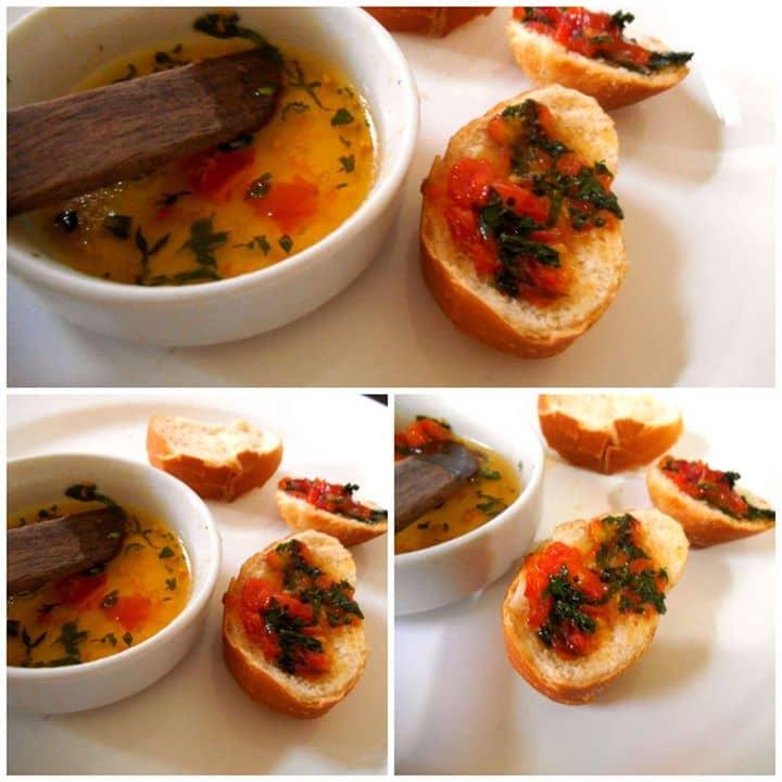 torradas e Molho Agridoce de Salsão, Hortelã e Tomate Cereja