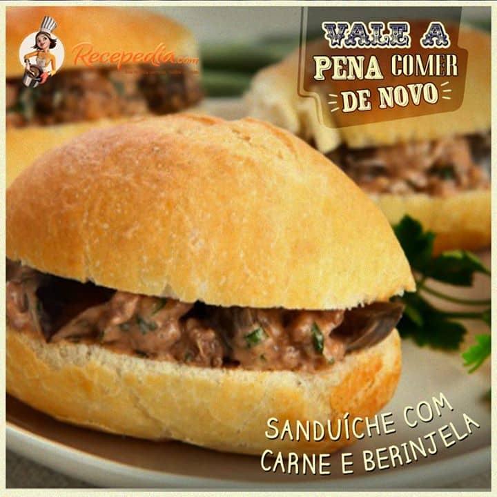 Sanduiche com Carne e Berinjela