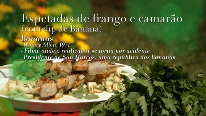 Espetadas de frango e camarão (com dip de Banana)