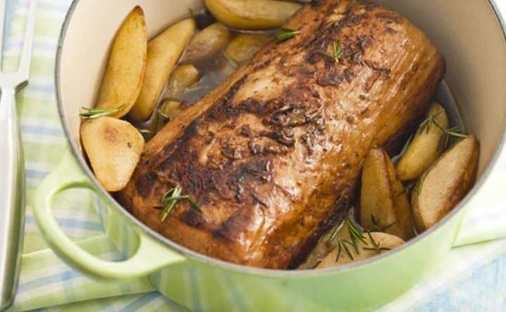 Lombo de porco de panela com peras