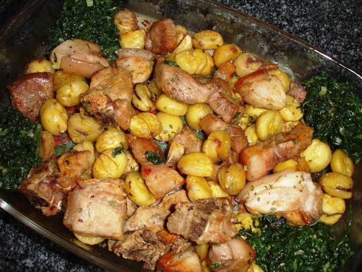 Leitão no forno com castanhas