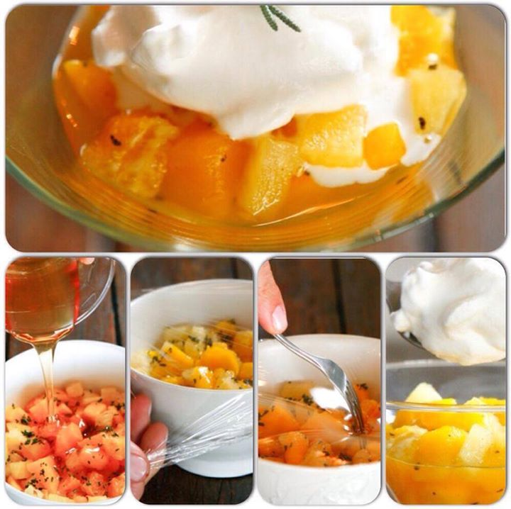 Frutas assadas no microondas com mel