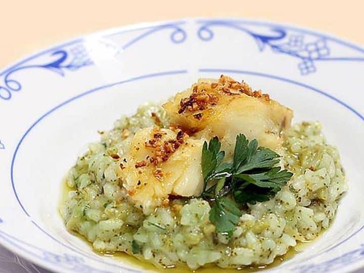Risoto de Brócolis e Bacalhau no Azeite de Alho