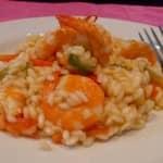 risotto de camarão e alho francês