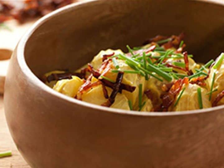 Salada de Batata com Bacon e Caril