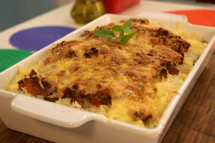 Arroz de Forno com Berinjela e Carne Moída